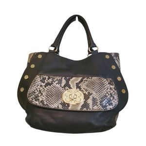 Emma Fox Snakeskin Side  Leather River Satchel